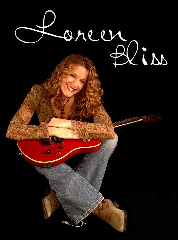 Loreen Bliss, Fall 2004.  This great guitar belongs to my producer, J. Marc Bailey.  He can play it, I can't.  Looks great in a picture though!  Speaking of which.... I did my own hair for this picture with just a three barrel curling iron.