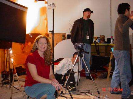 Loreen on set, December 2004.  Doug, the writer, is the guy in the hat!